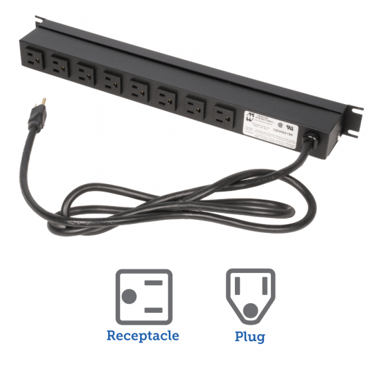 15A Horizontal Power Strip, Rear Outlet, 15ft Cord
