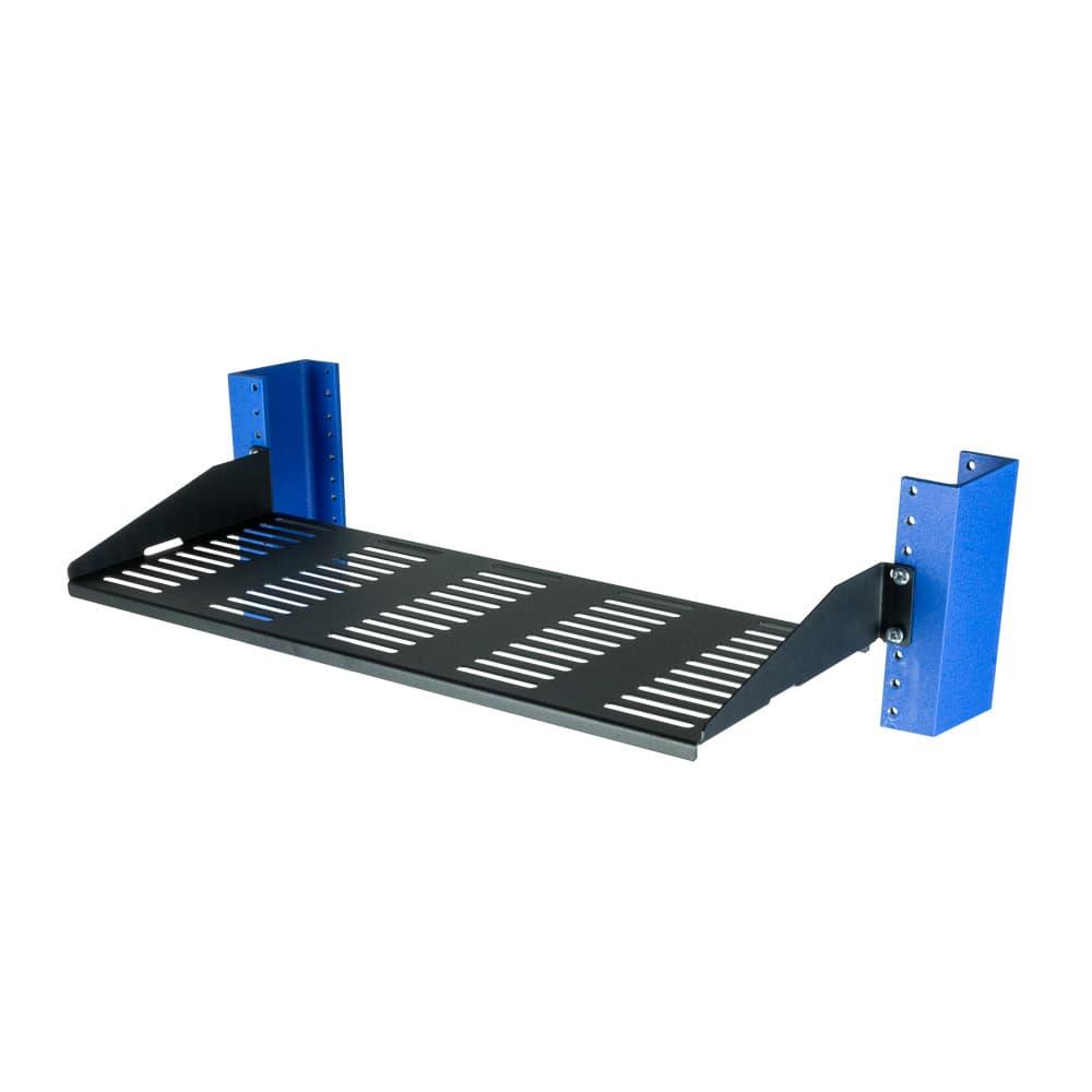 "1U 2 Post Rack Shelf - 7"" Vented, Flanges Down"