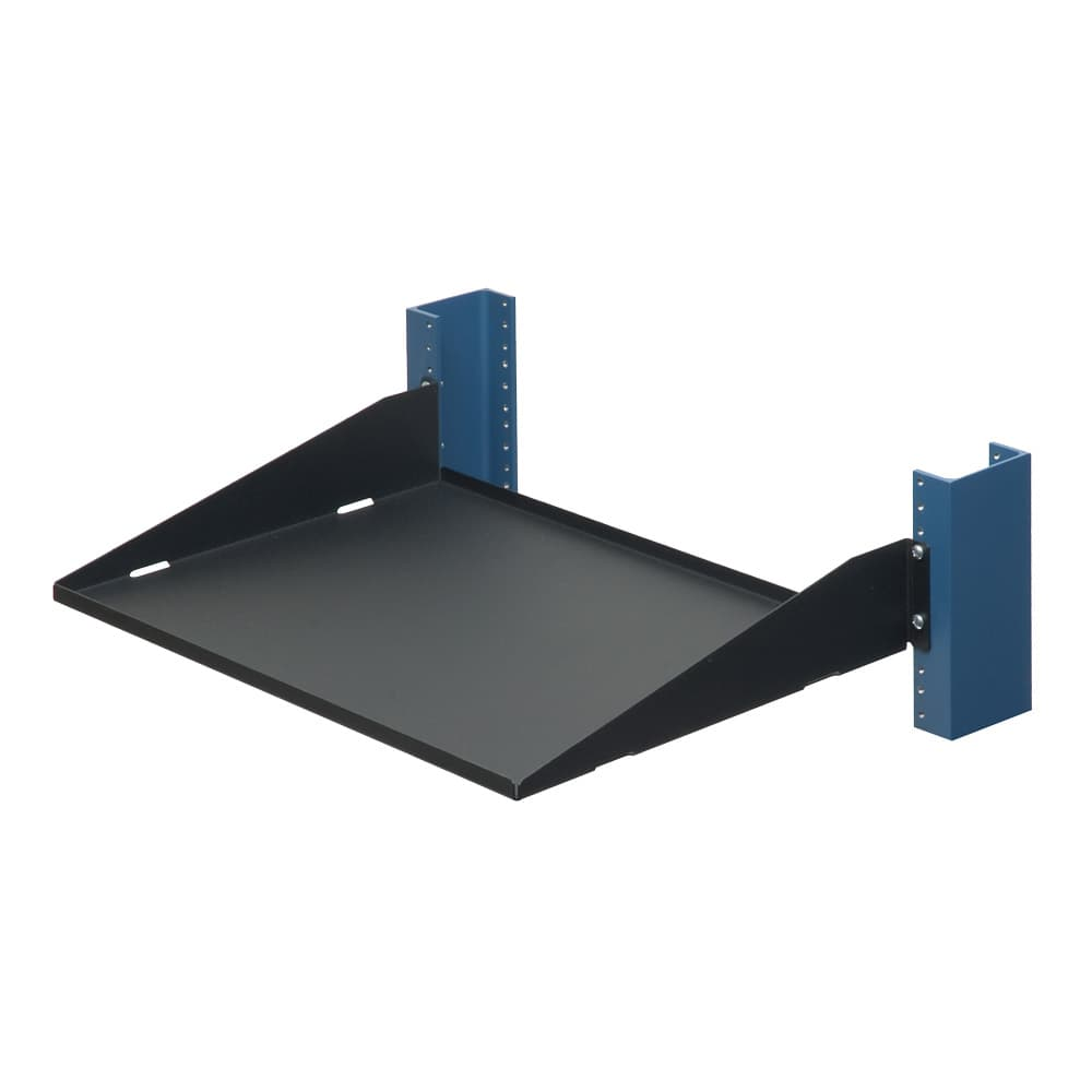 "2U 2 Post Rack Shelf - 13"" Solid, Flanges Up"